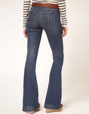 Image 2 ofrag &amp; bone/JEAN Flare With Leather Waist Detail Vintage Wash