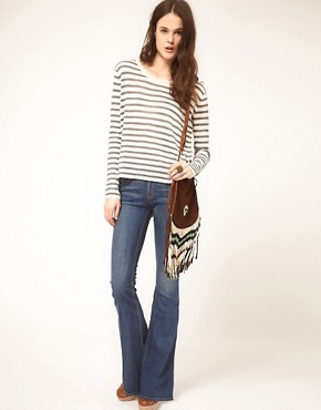 Image 4 ofrag &amp; bone/JEAN Flare With Leather Waist Detail Vintage Wash