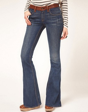 Image 1 ofrag &amp; bone/JEAN Flare With Leather Waist Detail Vintage Wash