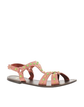 Image 1 of ASOS FETCH Leather Studded Sandals