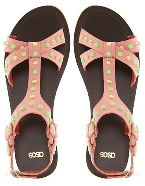 Image 2 of ASOS FETCH Leather Studded Sandals
