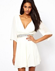 TFNC Wrap Front Dress with Embellished Waist