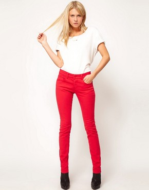 Image 4 ofASOS Skinny Jeans in Poppy Red #4