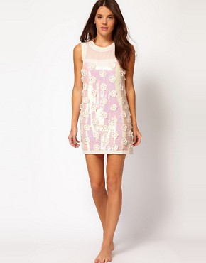 Image 4 ofRiver Island Lucy Flower Sequin Shift Beach To Bar Dress