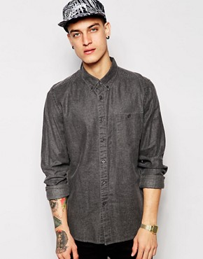 ASOS Shirt In Long Sleeve With Viscose Linen Mix