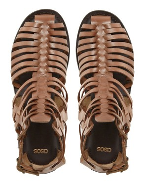 Image 4 ofASOS FICTION Leather Gladiator Flat Sandals