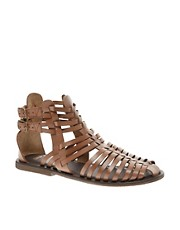 ASOS FICTION Leather Gladiator Flat Sandals