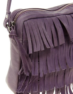 Image 4 ofASOS Leather Fringe Across Body Bag