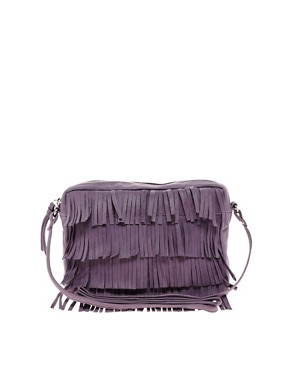 Image 1 ofASOS Leather Fringe Across Body Bag