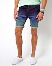 ASOS Denim Shorts With Dip Dye