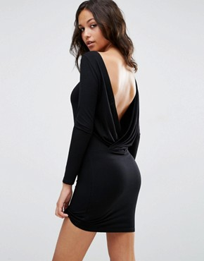 ASOS Long Sleeve Wrap Back Mini Dress