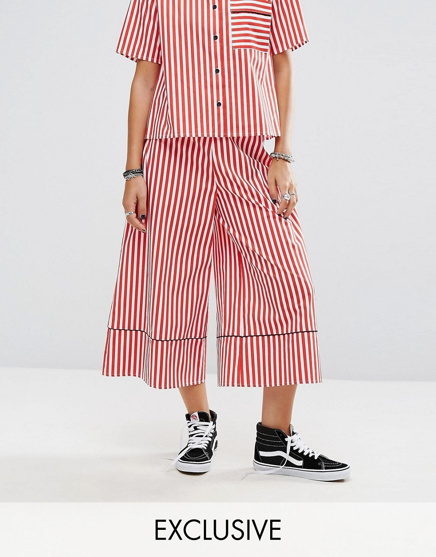 Reclaimed Vintage Inspired Striped Wide Leg Trouser With Piping - Red white stripe