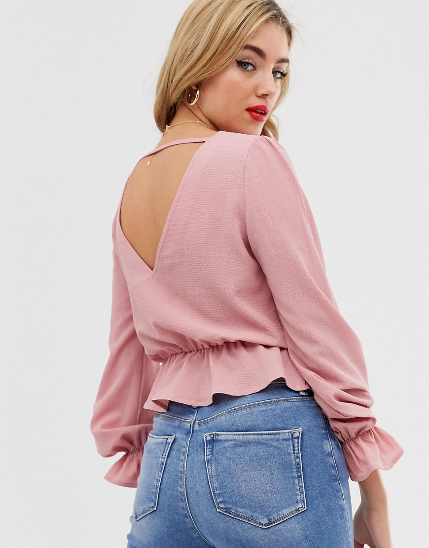 Boohoo exclusive v front and back blouse with frill detail in pink