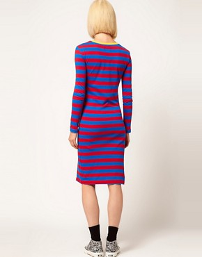 Image 2 ofHouse of Holland Jersey Midi Dress in Sporty Stripe