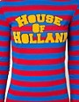 Image 3 ofHouse of Holland Jersey Midi Dress in Sporty Stripe