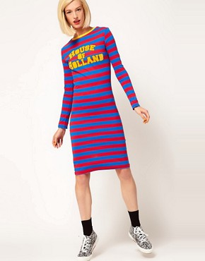 Image 4 ofHouse of Holland Jersey Midi Dress in Sporty Stripe