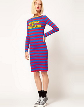 Image 1 ofHouse of Holland Jersey Midi Dress in Sporty Stripe