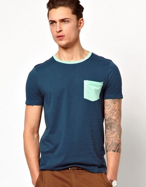 Image 1 ofASOS T-Shirt With Contrast Pocket And Neck Trim