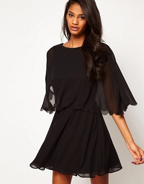 Image 1 ofASOS Chiffon Dress With Scalloped Edge