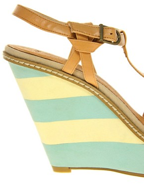 Image 3 ofASOS HERBY Sandals with T-Bar and Stripe Wedge Detail