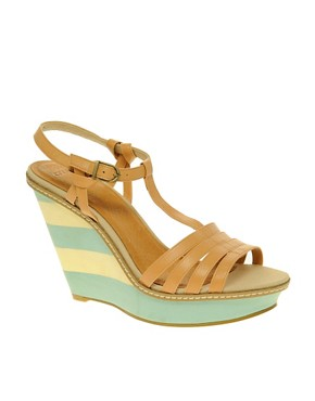 Image 1 ofASOS HERBY Sandals with T-Bar and Stripe Wedge Detail