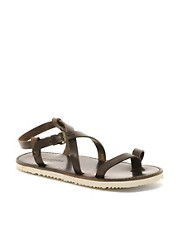 Buttero Leather Contrast Sole Sandals