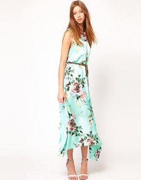Image 1 ofFull Circle Floral Maxi Dip Hem Dress