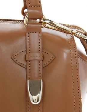 Image 4 of River Island Tan Mini Hard Leather Bowler Bag