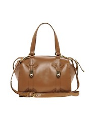 River Island Tan Mini Hard Leather Bowler Bag