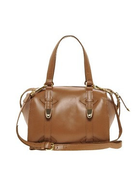 Image 1 of River Island Tan Mini Hard Leather Bowler Bag
