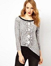 Karen Millen Knitted Jumper in Snake Print with Asymmetric Hem
