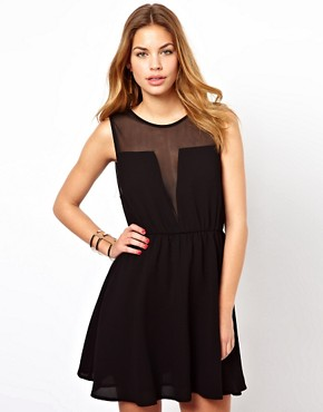 Image 1 ofGlamorous Skater Dress With Mesh Insert