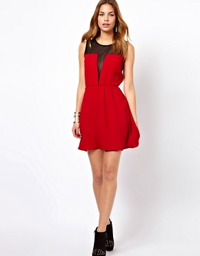 Image 4 ofGlamorous Skater Dress With Mesh Insert
