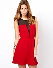 Glamorous Skater Dress With Mesh Insert