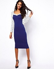 ASOS Midi Bodycon Dress With Spot Sleeve