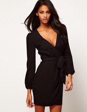 Image 1 ofASOS Wrap Dress With Tulip Skirt
