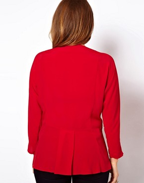 Image 2 ofASOS CURVE Exclusive Blouse With Wrap &amp; Soft Peplum Hem