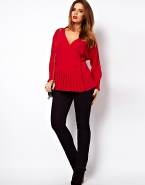 Image 4 ofASOS CURVE Exclusive Blouse With Wrap &amp; Soft Peplum Hem