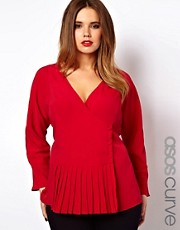 ASOS CURVE Exclusive Blouse With Wrap &amp; Soft Peplum Hem