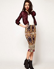 ASOS Pencil Skirt in Baroque Chain Print