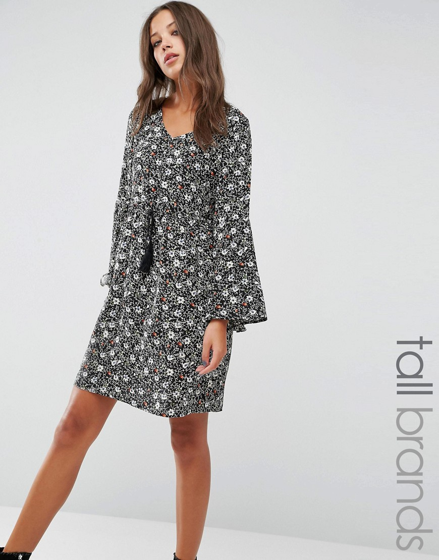 Brave Soul Tall Smock Dress With Frill Sleeves - Black