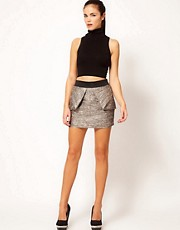 River Island Metallic Boucle Skirt