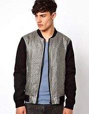 River Island Bomber Jacket with Contrast Silversnake Panel