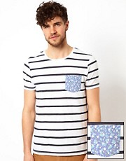 ASOS Stripe T-Shirt With Flower Printed Pocket