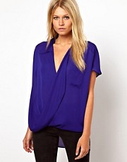 ASOS Blouse With Oversized Drape Collar And Wrap