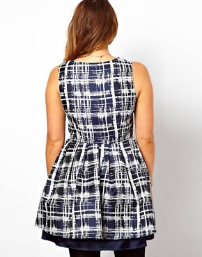 Image 2 ofASOS CURVE Skater Dress in Sketchy Check