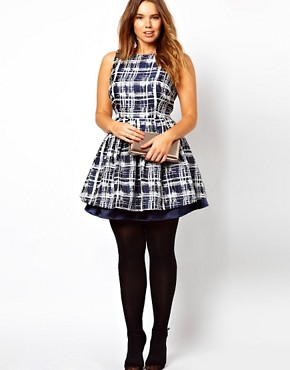 Image 4 ofASOS CURVE Skater Dress in Sketchy Check