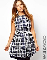 ASOS CURVE Skater Dress in Sketchy Check