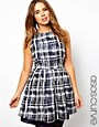 Image 1 ofASOS CURVE Skater Dress in Sketchy Check