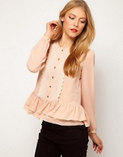 ASOS Blouse With Peplum And Crochet Lace Trim